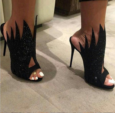Crystal Irregular Cut Peep-toe Stiletto Hight Heels Slipper Sandals
