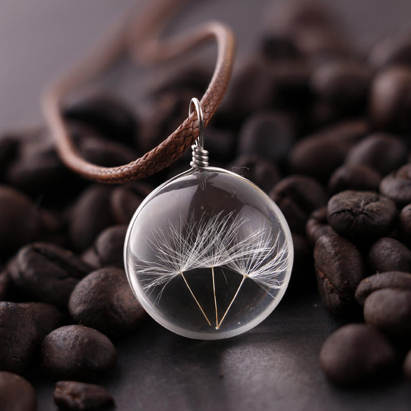 Manual Dandelion Clovers Lace Dried Flower Glass Ball Time Gem Clavicle Pendant Necklace