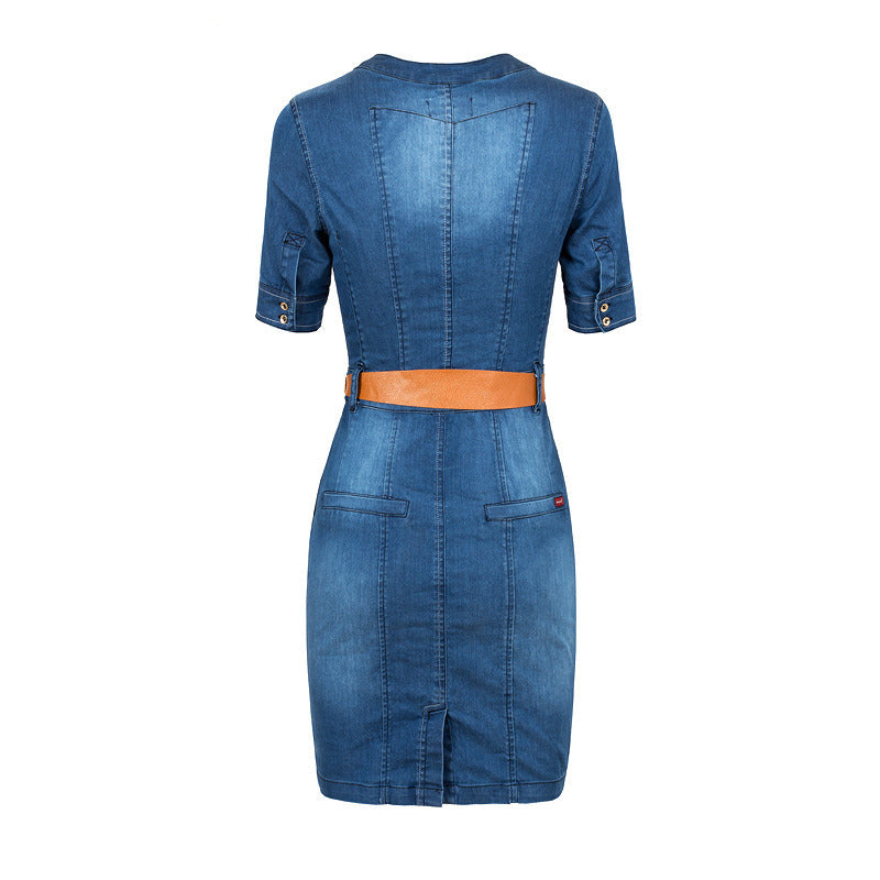 a5786cb4b5f Pure Color Bodycon Knee-length Denim Dress(Give away a belt ...