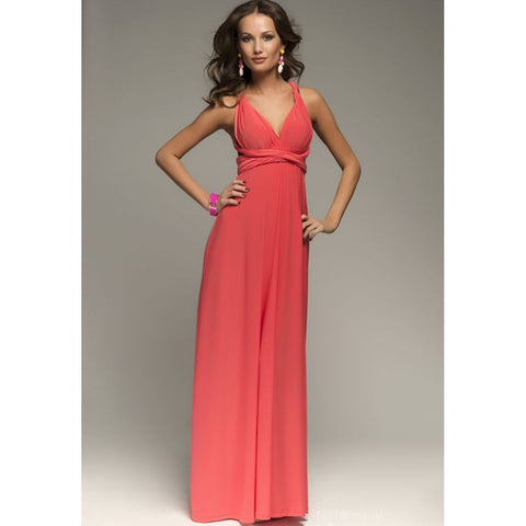 Back Cross V-neck Bandage Floor Length Prom Dress - Meet Yours Fashion - 7