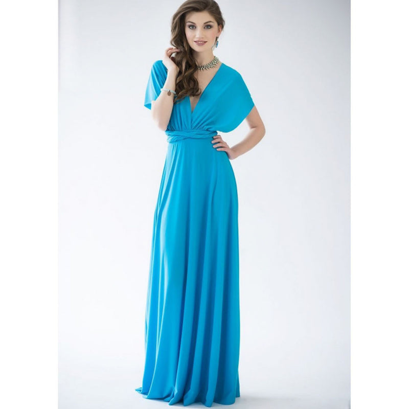 Back Cross V-neck Bandage Floor Length Prom Dress - Meet Yours Fashion - 6