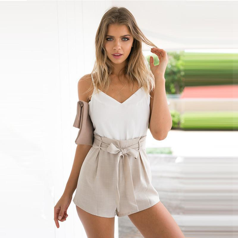 V-neck Backless Spaghetti Strap Patchwork Empire Jumpsuits - Meet Yours Fashion - 1