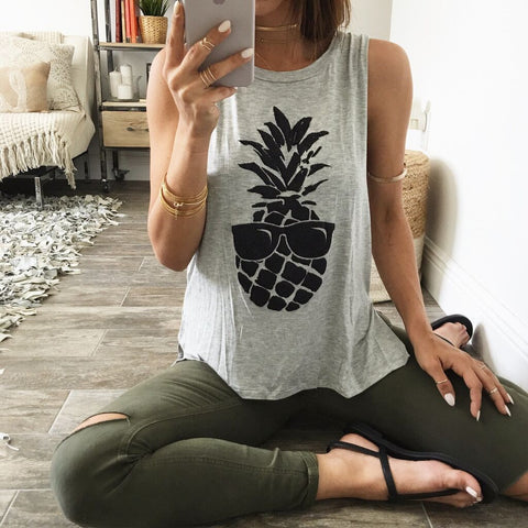 Scoop Sleeveless Pineapple Print Split Casual Vests - Meet Yours Fashion - 2