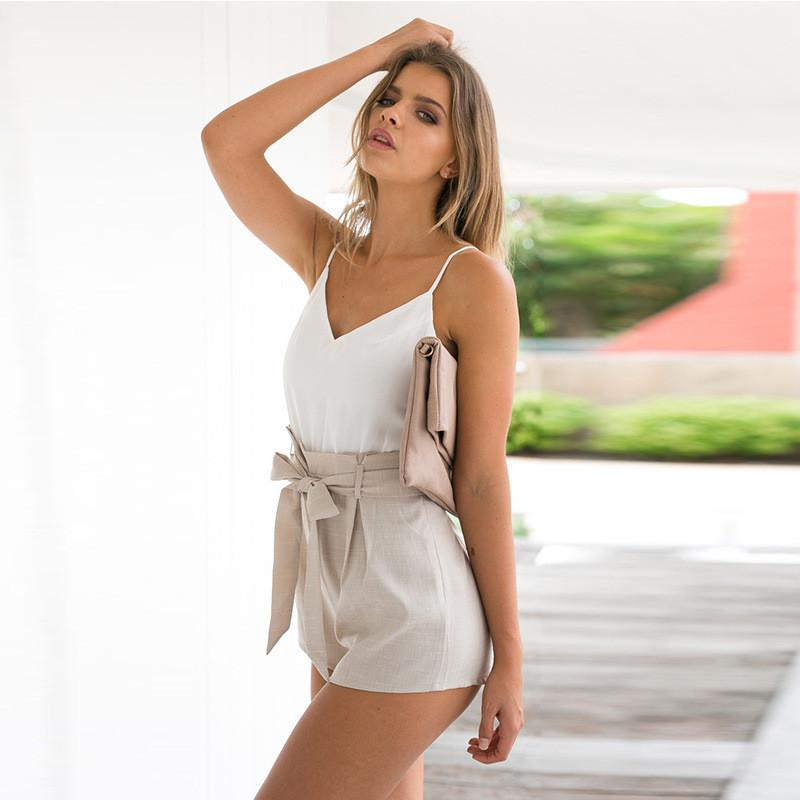 V-neck Backless Spaghetti Strap Patchwork Empire Jumpsuits - Meet Yours Fashion - 3