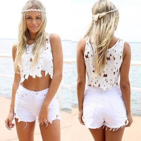Lace Patchwork Sexy Short Tassel Rough Edges Denim Shorts
