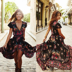 Flower Print V-neck Retro Short Sleeves Long Dress - Meet Yours Fashion - 1