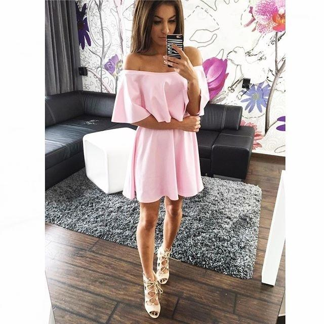 Off Shoulder Pure Color Short Sleeves Sexy Short Dress - Meet Yours Fashion - 2