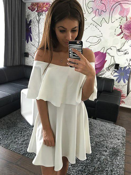 Off Shoulder Pure Color Short Sleeves Sexy Short Dress - Meet Yours Fashion - 5