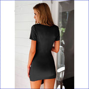 V-neck Short Sleeves Irregular Sexy Short Dress - Meet Yours Fashion - 5