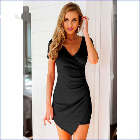 V-neck Short Sleeves Irregular Sexy Short Dress - Meet Yours Fashion - 4
