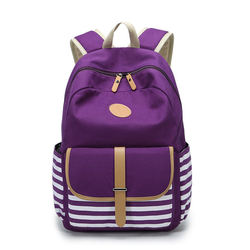 Stripe Print Canvas Backpack School Travel Bag - Meet Yours Fashion - 3