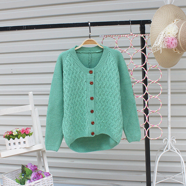 Cardigan Pure Color Elbow Patch Knit Sweater - Meet Yours Fashion - 2
