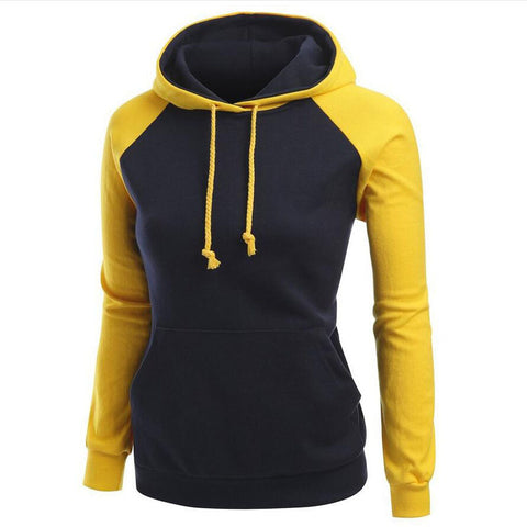 Contrast Color Splicing Pocket Slim Pullover Hoodie - Meet Yours Fashion - 5