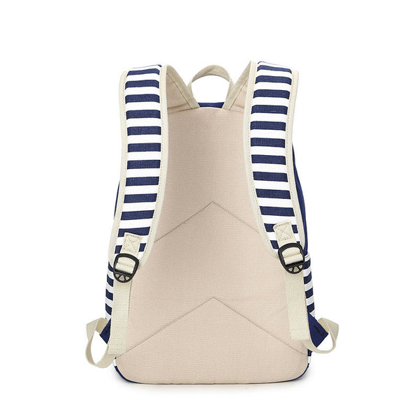 Stripe Print Fashion Canvas Backpack School Travel Bag