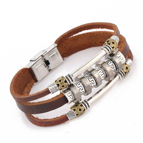Unique Alloy Beaded Leather Braided Bracelet