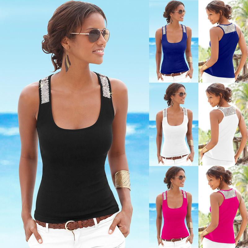 Sequin Patchwork Sleeveless Square Collar Sexy Vest - Meet Yours Fashion - 3