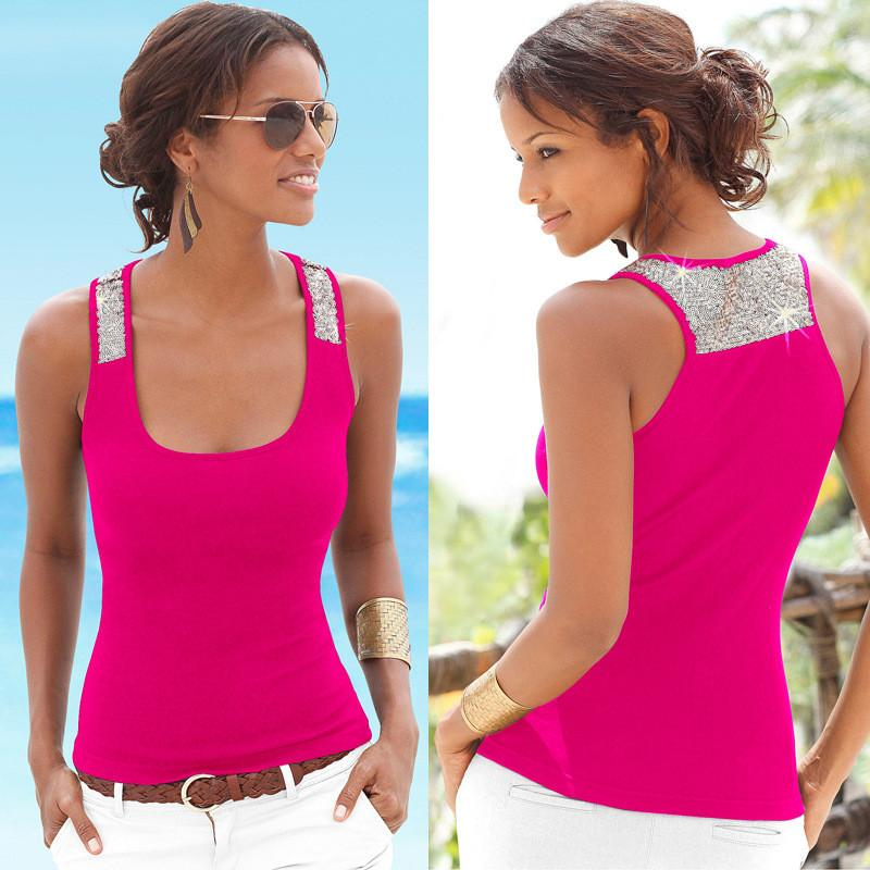 Sequin Patchwork Sleeveless Square Collar Sexy Vest - Meet Yours Fashion - 2