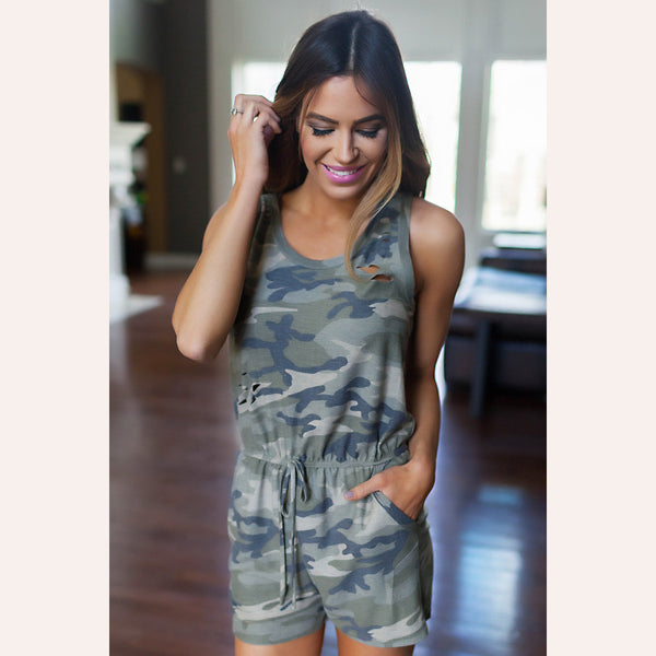 Cut Out Hole Sleeveless Print Short Jumpsuit