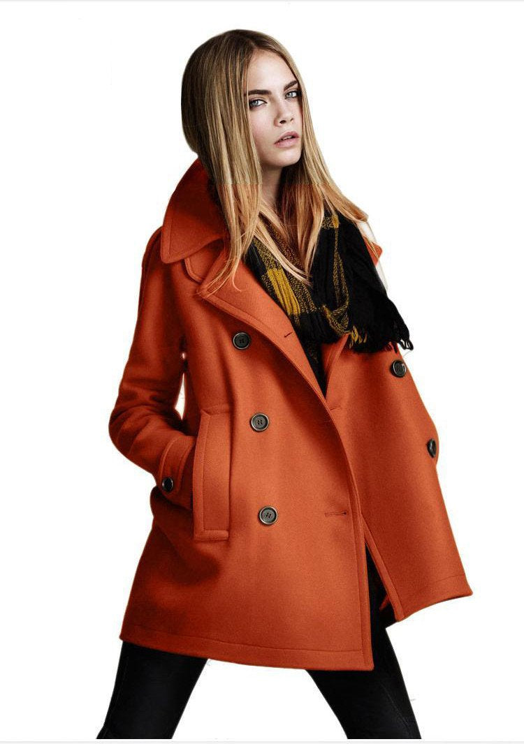 Double Button Loose Pure Color Fashion Woolen Coat - Meet Yours Fashion - 5