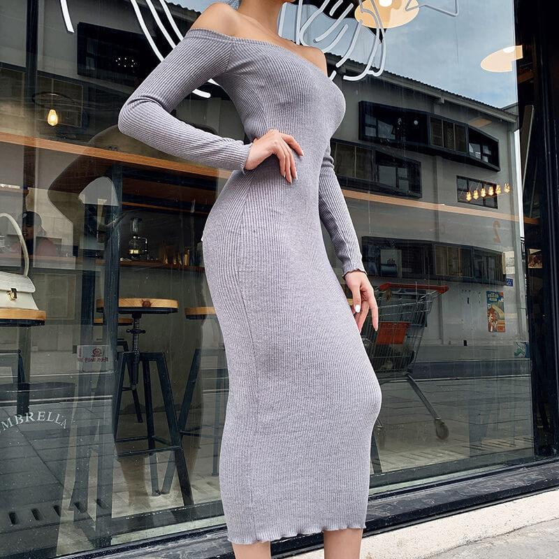 Off Shoulder Ribbed Long Dress