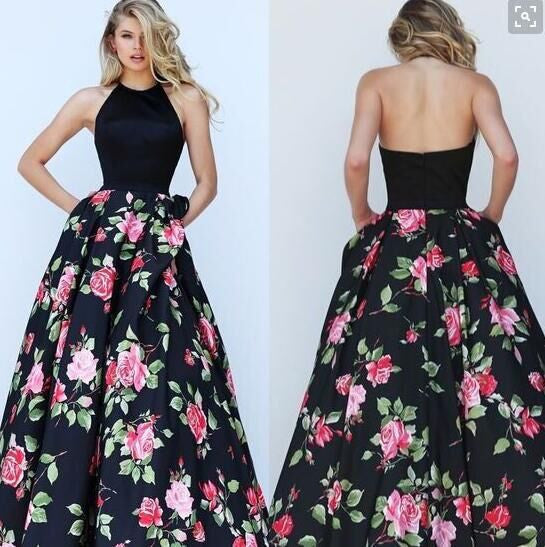 Halter Sleeveless Flower Print Patchwork Flared Maxi Dress - Meet Yours Fashion - 2