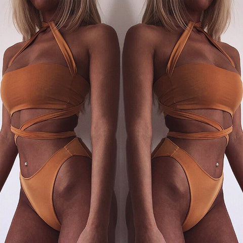 Sexy Halter Straps Bandage Two Pieces Swimwear Bikini