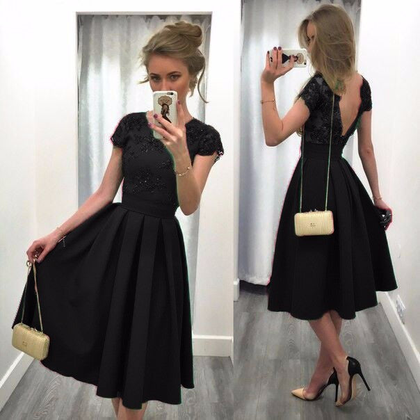 Splicing Solid Color Backless Short Sleeves Dress - Meet Yours Fashion - 6