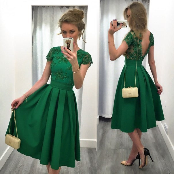 Splicing Solid Color Backless Short Sleeves Dress - Meet Yours Fashion - 1