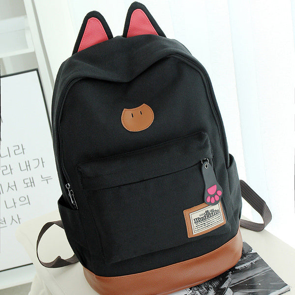 Cute Cat Ears Solid Color School Backpack Canvas Bag - Meet Yours Fashion - 2