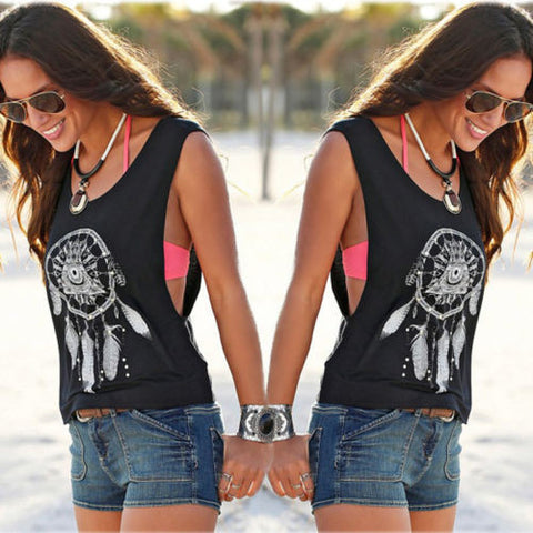 Scoop Sleeveless Flower Print Casual Loose Vest - Meet Yours Fashion - 2