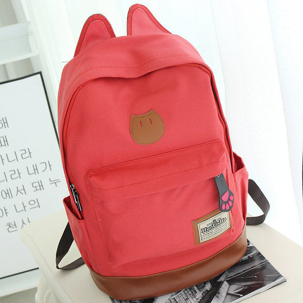 Cute Cat Ears Solid Color School Backpack Canvas Bag - Meet Yours Fashion - 9