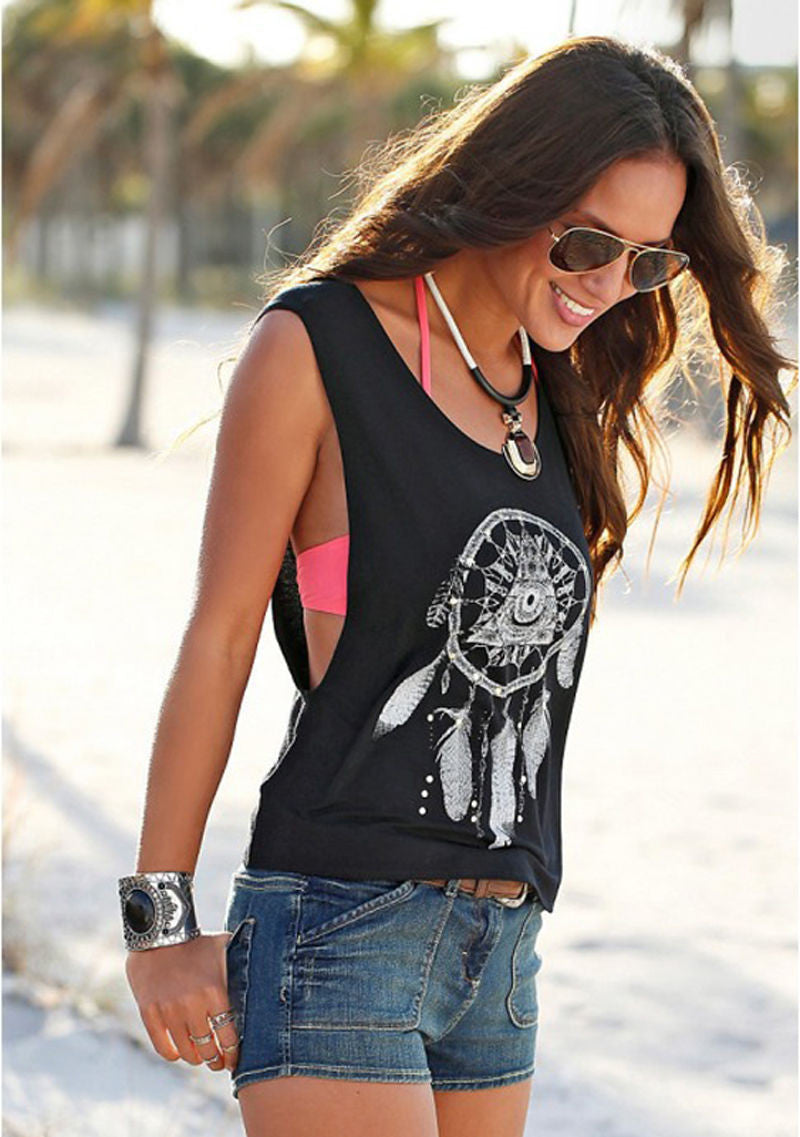 Scoop Sleeveless Flower Print Casual Loose Vest - Meet Yours Fashion - 1
