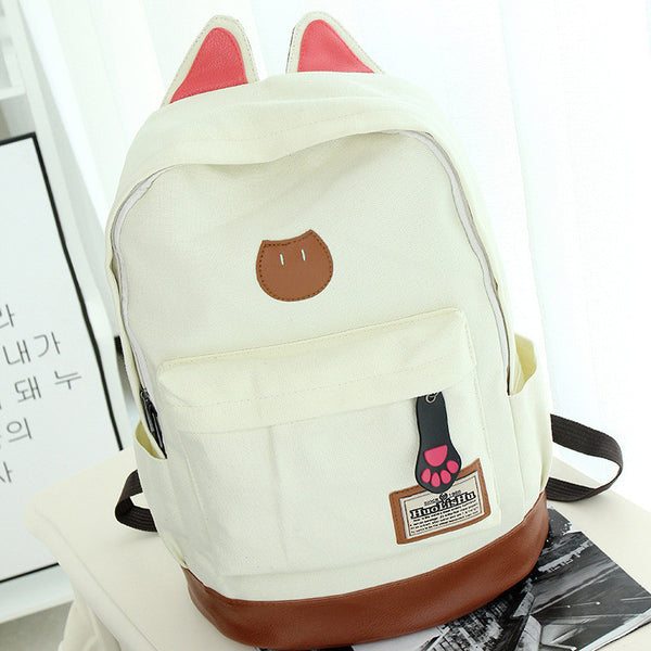 Cute Cat Ears Solid Color School Backpack Canvas Bag - Meet Yours Fashion - 4