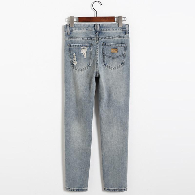 Ripped Buttons Holes 9/10 Denim Harem Pants - Meet Yours Fashion - 5