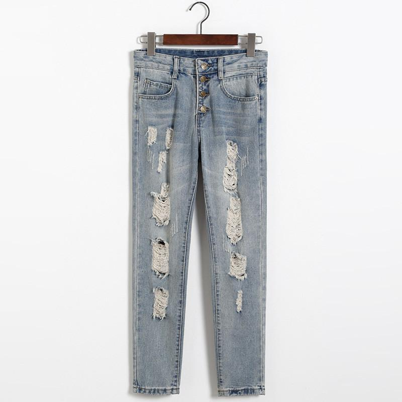 Ripped Buttons Holes 9/10 Denim Harem Pants - Meet Yours Fashion - 4