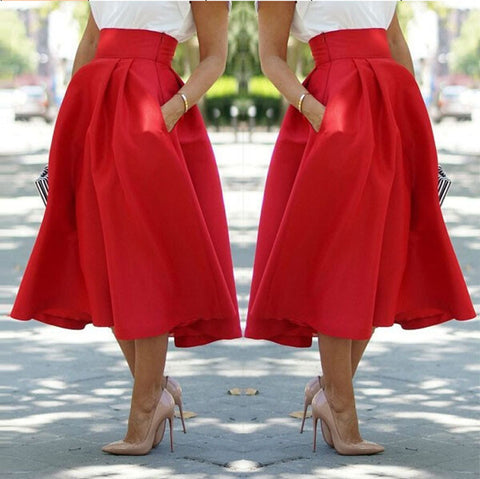 High Waist Pleated Solid Long Skirts - Meet Yours Fashion - 2