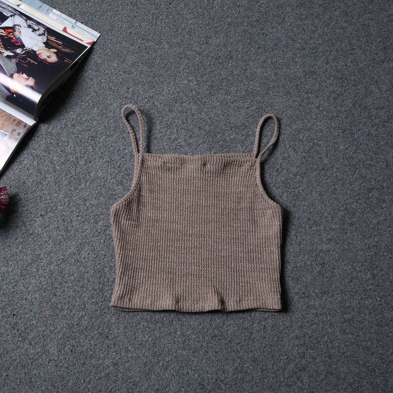 Slim Pure Color Sleeveless Short Spaghetti Strap Vests - Meet Yours Fashion - 7