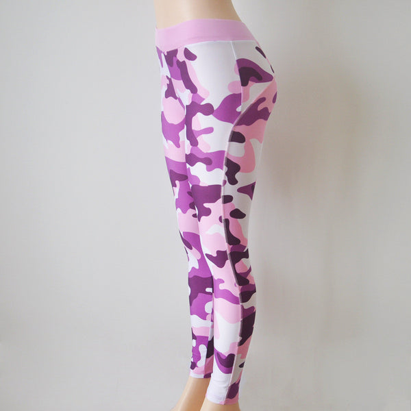 Camouflage Print Low Waist Elastic Long Leggings