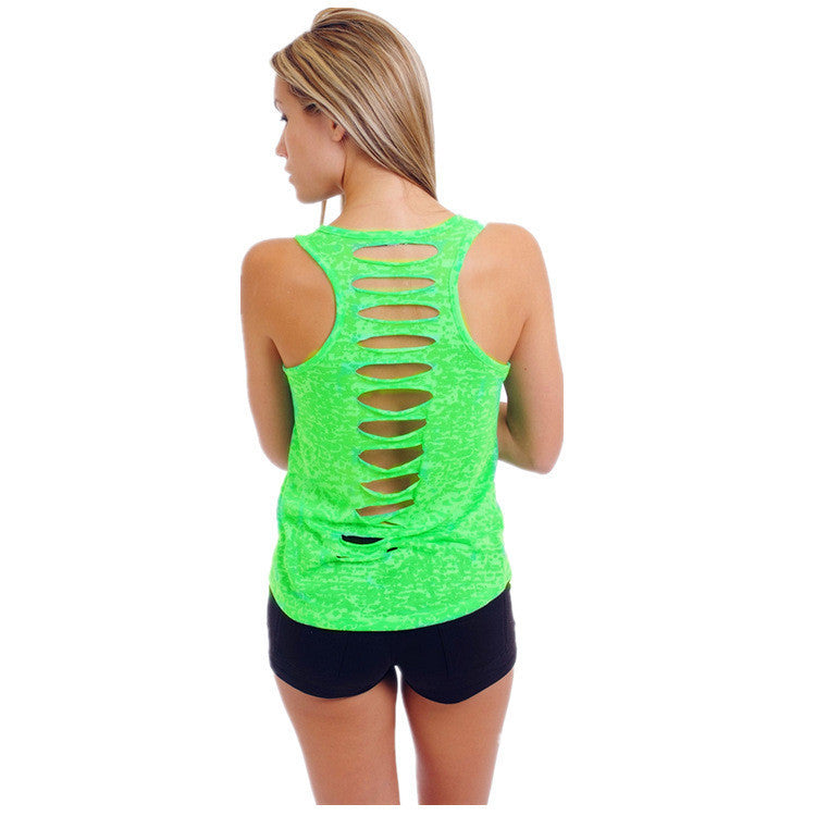 Hollow Out Sleeveless U-neck Pure Color Vest - Meet Yours Fashion - 10