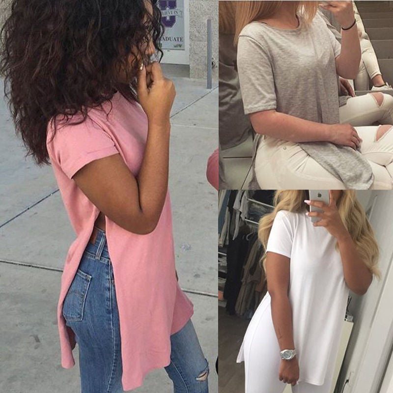 Pure Color Scoop Short Sleeve High Split Long T-shirt