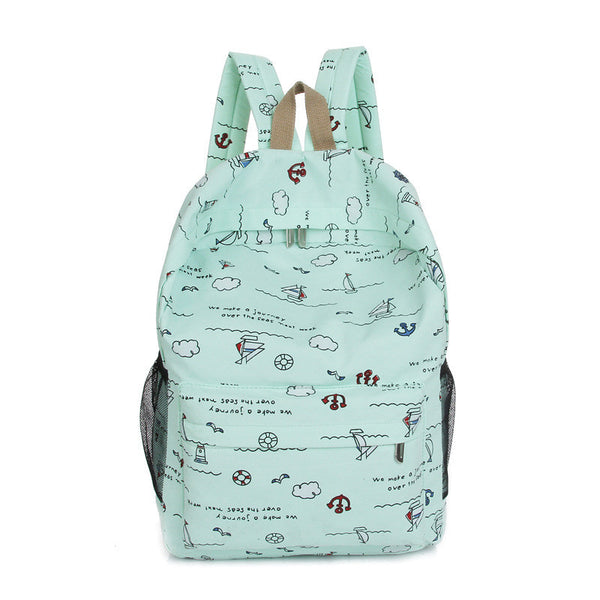 Bright Color Sailing Print Cute School Backpack Bag - Meet Yours Fashion - 2
