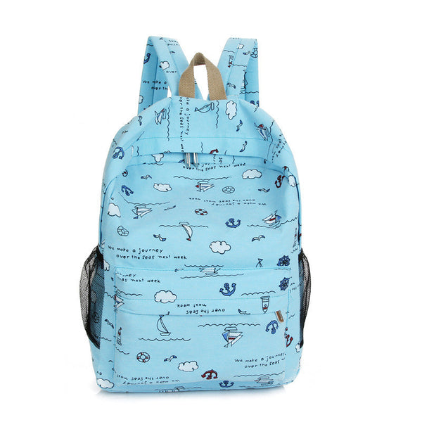 Bright Color Sailing Print Cute School Backpack Bag - Meet Yours Fashion - 3