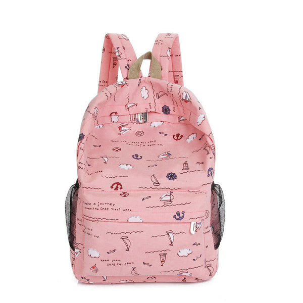 Bright Color Sailing Print Cute School Backpack Bag - Meet Yours Fashion - 4