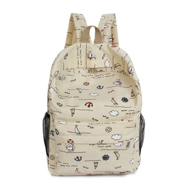 Bright Color Sailing Print Cute School Backpack Bag - Meet Yours Fashion - 5