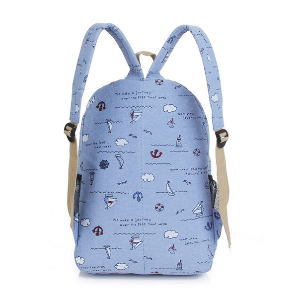 Bright Color Sailing Print Cute School Backpack Bag - Meet Yours Fashion - 7