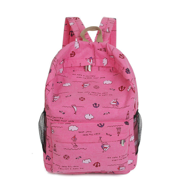 Bright Color Sailing Print Cute School Backpack Bag - Meet Yours Fashion - 6