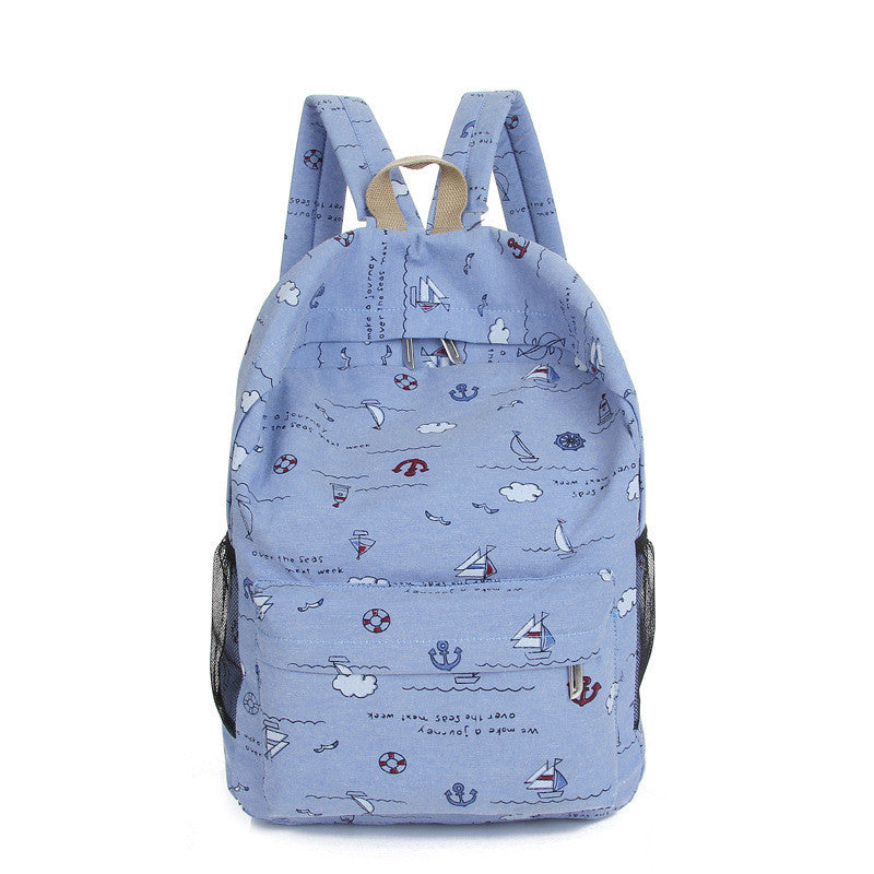 Bright Color Sailing Print Cute School Backpack Bag - Meet Yours Fashion - 1