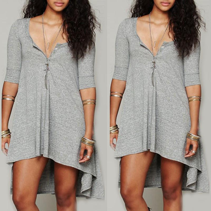 Half Sleeves Pure Color Irregular Short Dress - Meet Yours Fashion - 6