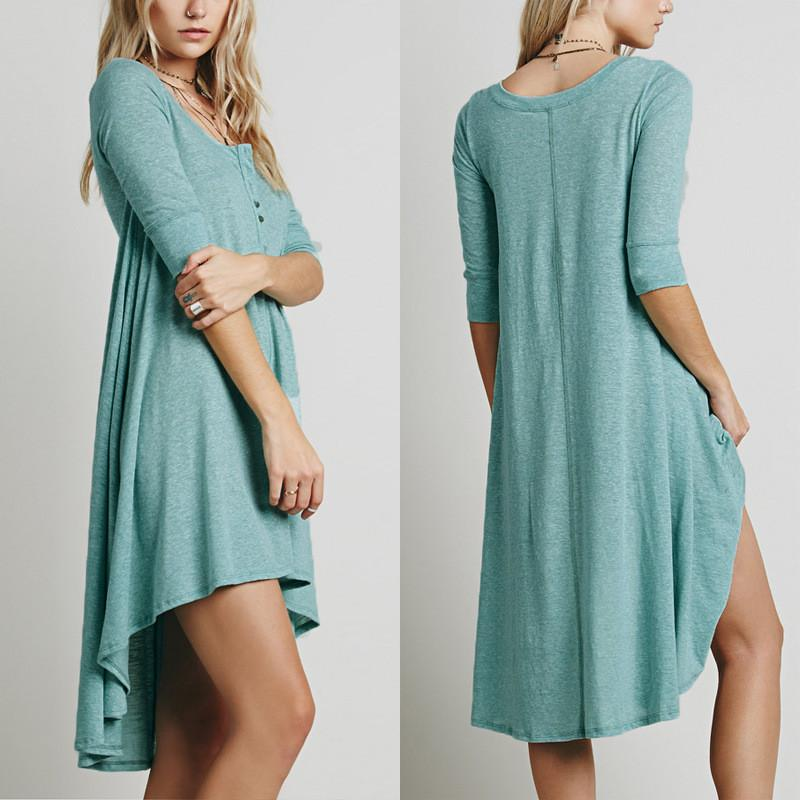 Half Sleeves Pure Color Irregular Short Dress - Meet Yours Fashion - 5