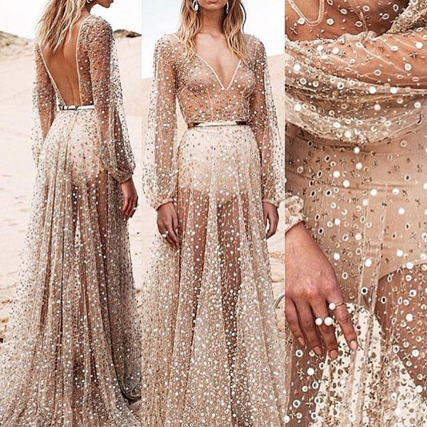 Elegant Mesh Sequins Slim Long Dress